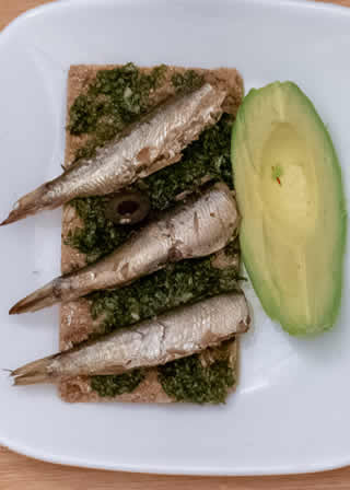 Sardines on pesto and Avocado