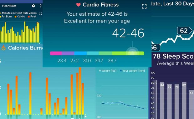Fitbit exercise and activities charts July 2020