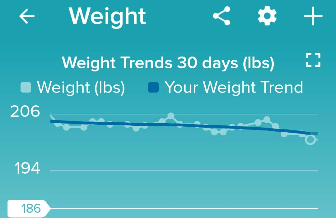 Weight loss chart for October